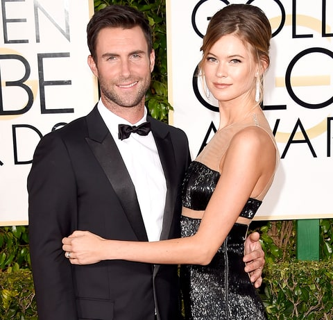 Adam Levine and Behati Prinsloo  attend the 72nd Annual Golden Globe Awards.