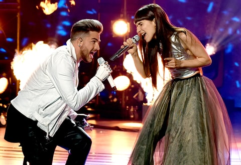 Adam Lambert and Laleh perform onstage at FOX's American Idol Season 15.