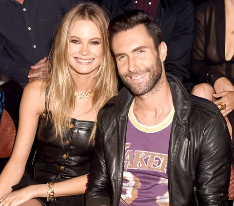 Adam Levine and Behati Prinsloo attend the 2014 MTV Video Music Awards.