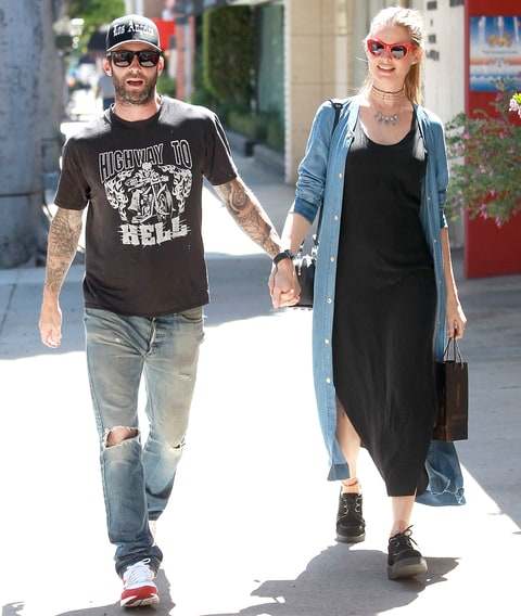 Adam Levine and Behati Prinsloo spotted shopping in Beverly Hills, March 29.