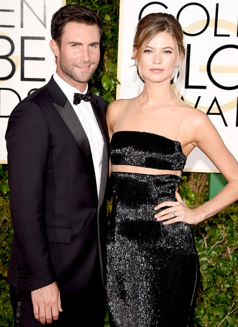 Adam Levine and Behati Prinsloo attend the 72nd Annual Golden Globe Awards at The Beverly Hilton Hotel on January 11, 2015 in Beverly Hills, California.