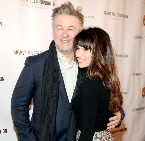 Alec Baldwin and Hilaria Thomas Baldwin attend the Arthur Miller - One Night 100 Years Benefit at Lyceum Theatre on January 25, 2016.
