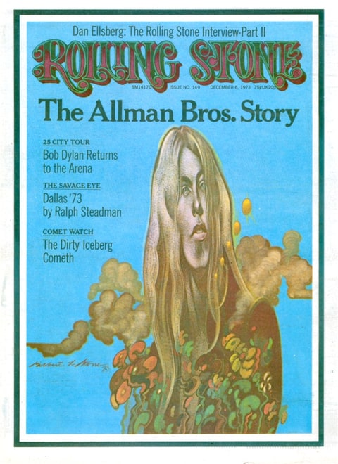 Gregg Allman on Cover Rolling Stone December 6, 1973.