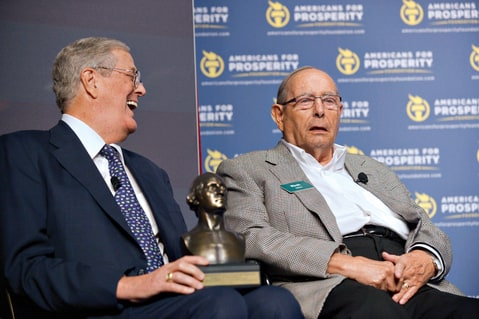 David Koch with Amway founder Rich DeVos, 2013.