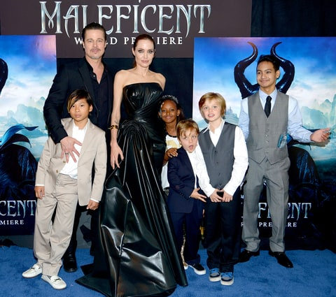 Brad Pitt and Angelina Jolie (C) with children (L-R) Pax Jolie-Pitt, Zahara Jolie-Pitt, Knox Jolie-Pitt, Shiloh Jolie-Pitt and Maddox Jolie-Pitt attend the World Premiere of Disney's