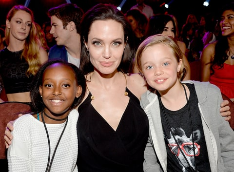 Angelina Jolie with Zahara Marley Jolie-Pitt and Shiloh Nouvel Jolie-Pitt in the audience during Nickelodeon's 28th Annual Kids' Choice Awards held at The Forum on March 28, 2015.