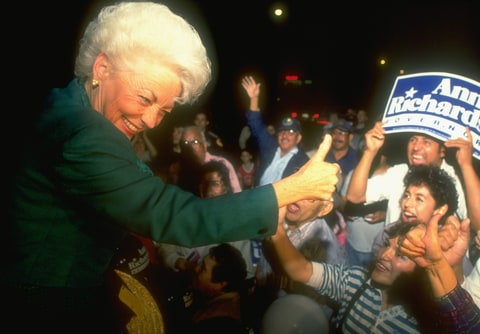 TX Dem. gubernatorial candidate Ann Richards greeting enthusi- astic supporters during her campaign.