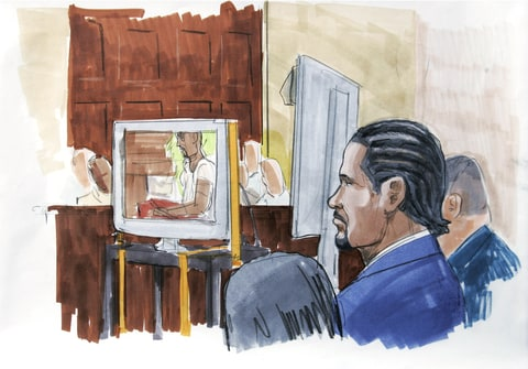 This artists rendering shows R&B singer R. Kelly, right, watching in court as prosecutors played the sex tape at the center of his child pornography trial in open court in Chicago on Tuesday, May 20, 2008, just hours after opening statements in which they accused the R&B singer of choreographing and starring in the footage with an underage girl.