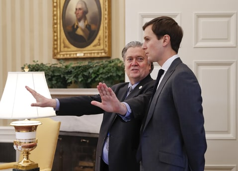 Counselor to the President Steve Bannon, left, talks with White House senior advisers Jared Kushner in the Oval Office of the White House in Washington, Friday, Feb. 3, 2017.