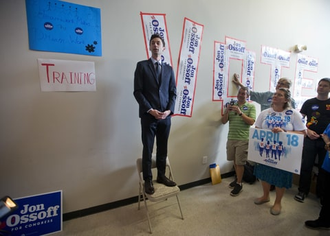 Democratic candidate for Georgia's Sixth Congressional seat Jon Ossoff talks with supporters at a campaign field office Tuesday, April 18, 2017, in Marietta, Ga. Voters began casting ballots on Tuesday in the special election to fill the House seat vacated by Health and Human Services Secretary Tom Price.