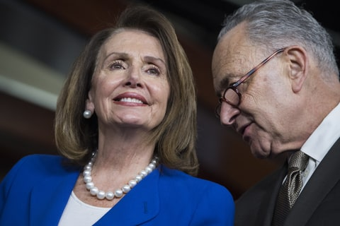 House Minority Leader Nancy Pelosi, D-Calif., and Senate Minority Leader Charles Schumer, D-N.Y., attend a news conference in the Capitol Visitor Center with House and Senate Democrats on a report which they say shows that prescription drug prices have risen under President Trump on May 10, 2018