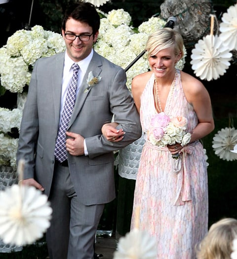 Jessica Simpson Wedding Gown: Pregnant Jessica Simpson Wears Colorful Bridesmaids Dress