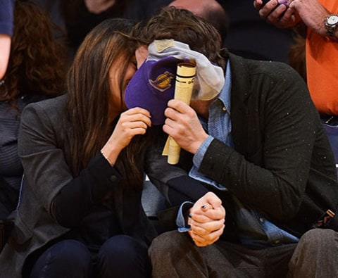 Mila and Ashton at Lakers Game