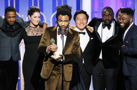 Donald Glover accepts the award for Best Television Series - Musical or Comedy for the series