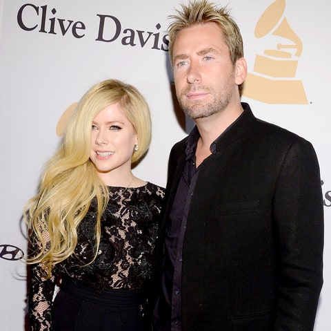 Avril Lavigne and Chad Kroeger attend the 2016 Pre-GRAMMY Gala.