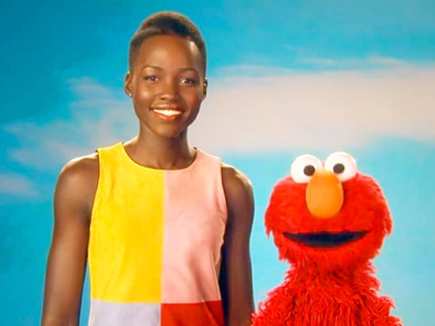 Lupita Nyong'o and Elmo