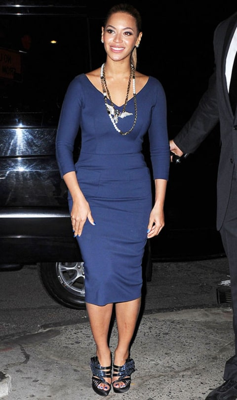 beyonce navy blue dress