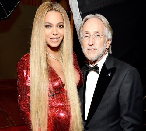 Beyonce (L) and President/CEO of The Recording Academy and GRAMMY Foundation President/CEO Neil Portnow attend the The 59th GRAMMY Awards at STAPLES Center on February 12, 2017 in Los Angeles, California.