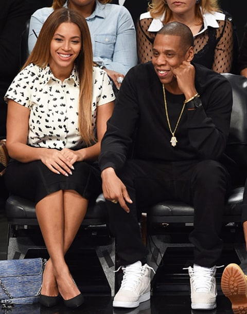 Beyonce and JayZ Courtside