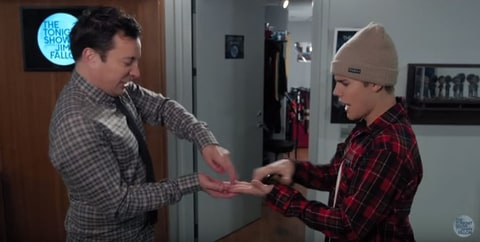 Justin Bieber and Jimmy Fallon showcase their awesome secret handshake!