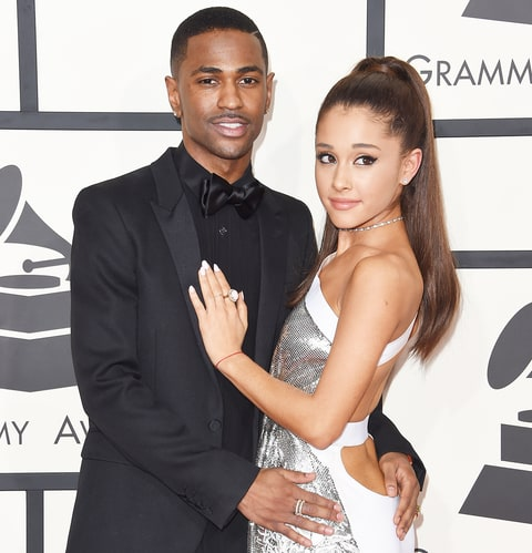 Big Sean and Ariana Grande arrive at the 57th Annual GRAMMY Awards at Staples Center on February 8, 2015 in Los Angeles, California.