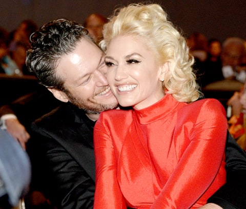 Blake Shelton and Gwen Stefani attend the 2016 Pre-GRAMMY Gala.