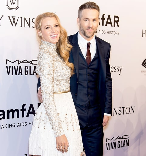 Blake Lively and Ryan Reynolds attend the 2016 amfAR New York Gala at Cipriani Wall Street on February 10, 2016 in New York City.