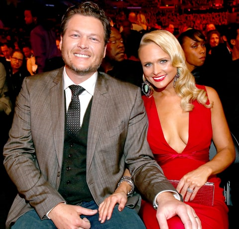 Blake Shelton and Miranda Lambert attend the 56th GRAMMY Awards at Staples Center on January 26, 2014 in Los Angeles, California.