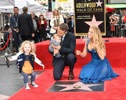 Blake Lively and Ryan Reynolds with their children