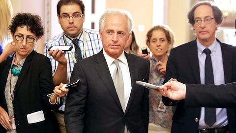 WASHINGTON, DC - JULY 13:  Senate Foreign Relations Committee Chairman Bob Corker (R-TN) leaves a meeting where a new version of a GOP healthcare bill was unveiled to Republican senators at the U.S. Capitol July 13, 2017 in Washington, DC. The latest version of the proposed bill aims to repeal and replace the Affordable Care Act, also knows as Obamacare.  (Photo by Chip Somodevilla/Getty Images)