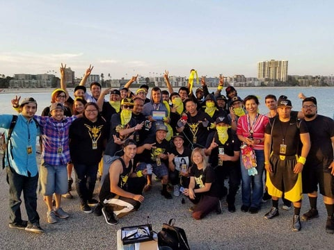 Team Instinct competes in a Pokemon tournament in Long Beach