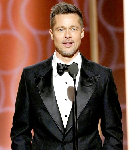 Brad Pitt onstage during the 74th Annual Golden Globe Awards.