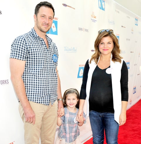 Brady Smith, Harper Renn Smith and actress Tiffani Thiessen attend Milk + Bookies 6th Annual Story Time Celebration on April 19, 2015 in Los Angeles.