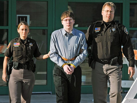 Brendan Dassey is led from the Manitowoc County Jail to the Manitowoc County courthouse in Manitowoc, Wis., early Monday, April 16, 2007.