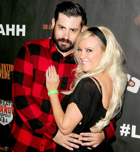 Bridget Marquardt and Nick Carpenter attend the Los Angeles Haunted Hayride Black Carpet Premiere Night in Griffith Park on Oct. 4, 2015.