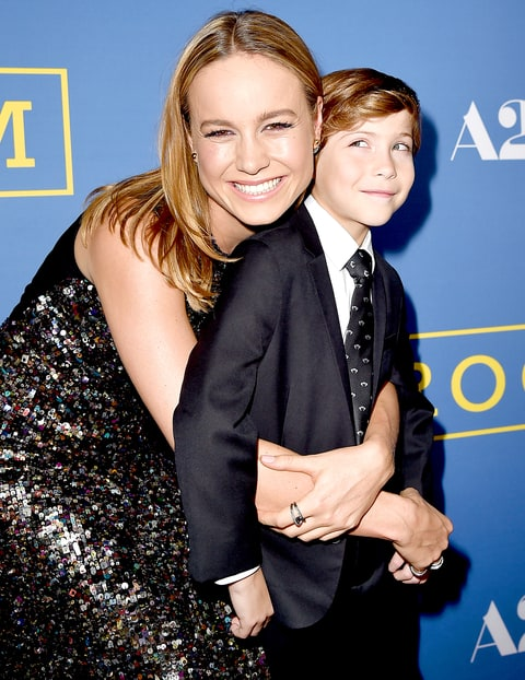 Brie Larson and Jacob Tremblay arrive at the premiere of A24's