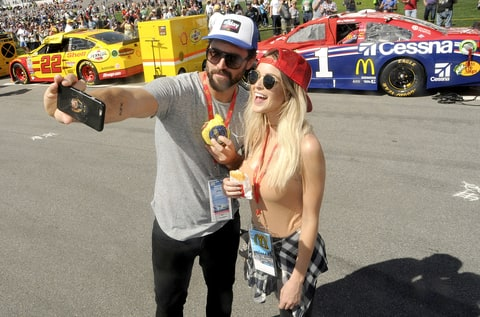 Brody Jenner and girlfriend Kaitlynn Carter snacked on Egg McMuffins and hash browns from McDonald's All Day Breakfast menu at the Daytona 500 in Daytona Beach, Florida.