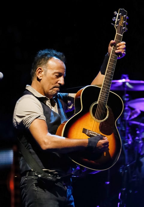 Musician Bruce Springsteen performs in concert at Gillette Stadium in Foxborough, Mass., on Sept. 14, 2016. (