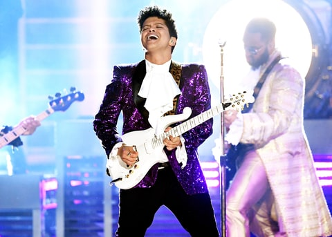 Bruno Mars performs onstage during The 59th GRAMMY Awards at STAPLES Center on February 12, 2017 in Los Angeles, California.