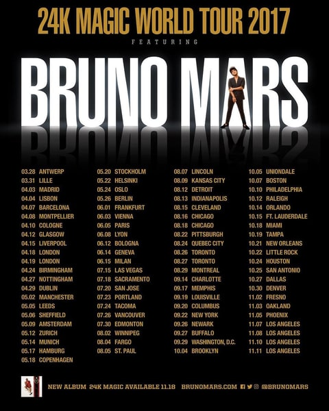 Bruno mars tour dates in Sydney