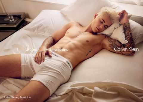 Justin Bieber in the promo for the spring 2016 Calvin Klein global advertising campaign.