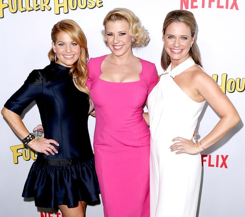 Candace Cameron Bure, Jodie Sweetin and Andrea Barber attend the premiere of Netflix's