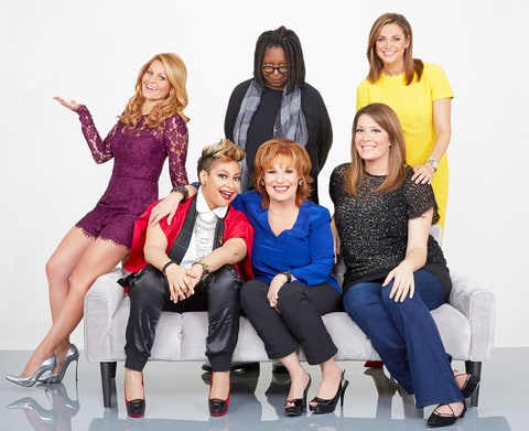 Whoopi Goldberg, Paula Faris, Michelle Collins, Joy Behar, Raven-Symoné and Candace Cameron Bure (clockwise from top center) of 'The View'