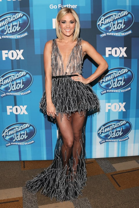 Carrie Underwood Stuns In Two Sheer Gowns On American