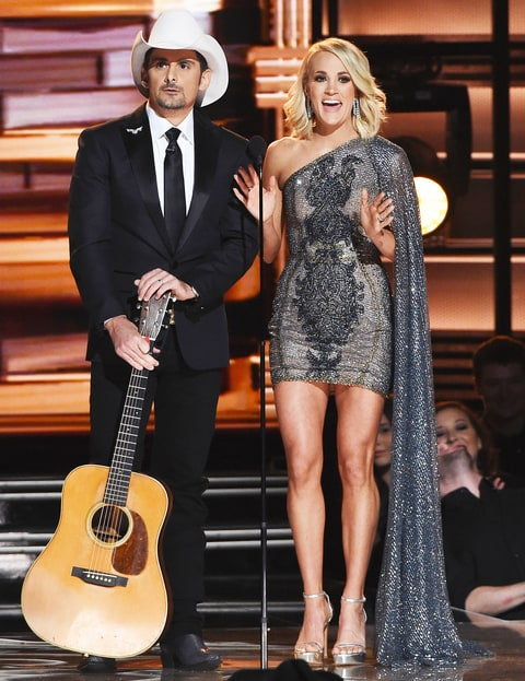 Brad Paisley and Carrie Underwood perform on stage at the 50th Annual CMA Awards at the Bridgestone Arena on Nov. 2, 2016, in Nashville.