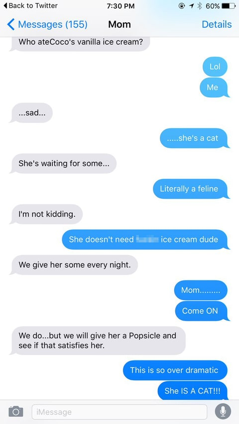 This Hilarious Text Exchange About The Family Cat Is Going