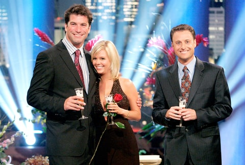Charlie O'Connell, Sarah B. and Chris Harrison (right) celebrated with a champagne toast on