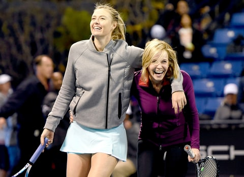 Chelsea Handler partnered with tennis pro Maria Sharapova at the Maria Sharapova & Friends tennis match presented by Porsche in L.A.