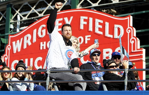 Ben Zobrist #18 of the Chicago Cubs waves to the crowd during the 2016 World Series victory parade on November 4, 2016 in Chicago, Illinois.