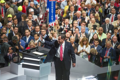 New Jersey Gov. Chris Christie is seen on stage at the Quicken Loans Arena after addressing the Republican National Convention in Cleveland, Ohio, July 19, 2016.